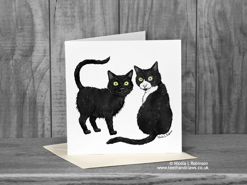 Black and white Cats - Nubia and Oliver - Cat Card © Nicola L Robinson | Teeth and Claws
