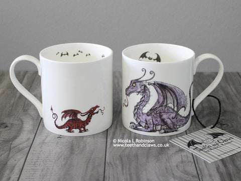 Purple mother dragon mug © Nicola L Robinson | Teeth and Claws