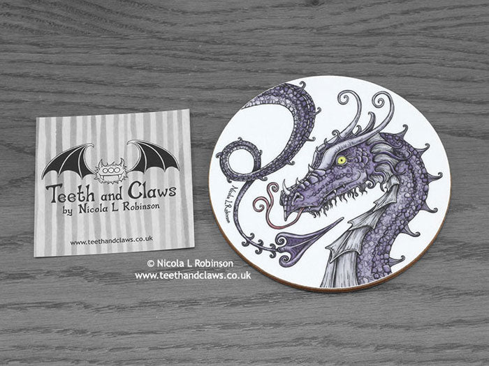 Dragon Coaster - Purple Serpent Dragon © Nicola L Robinson | Teeth and Claws www.teethandclaws.co.uk