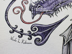 Purple Serpent Dragon Art Print © Nicola L Robinson | Teeth and Claws
