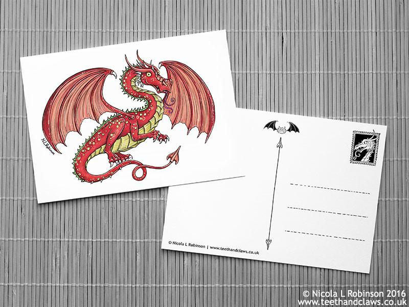 Dragon Postcard - Red Welsh Dragon © Nicola L Robinson | Teeth and Claws