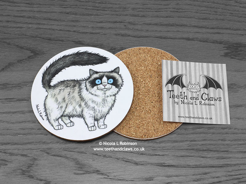 Cat Coaster - Ragdoll Cat © Nicola L Robinson | www.teethandclaws.co.uk