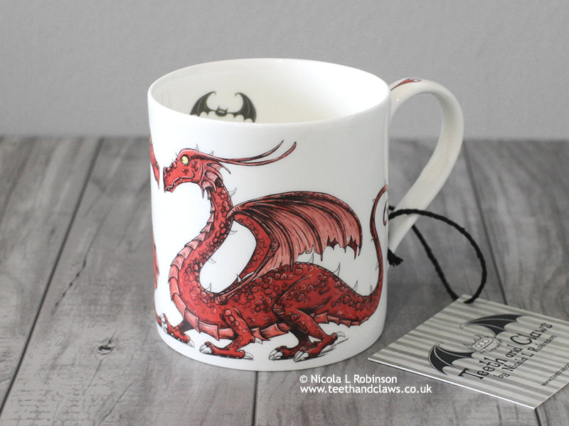 Welsh Dragon Mug - English Bone China Mug © Nicola L Robinson | Teeth and Claws