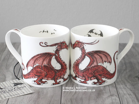 Red dragon mug © Nicola L Robinson | Teeth and Claws