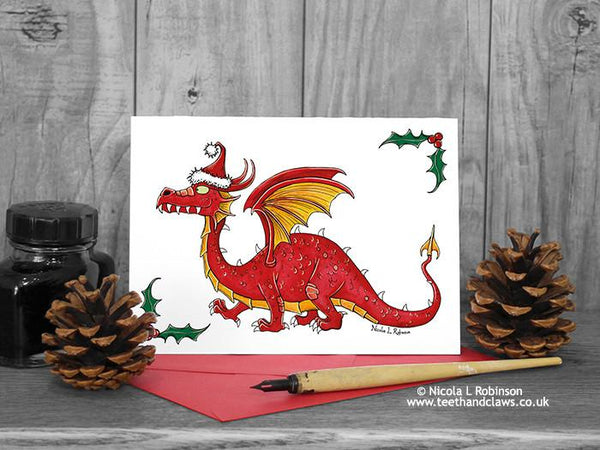 Red Dragon Christmas Card © Nicola L Robinson www.teethandclaws.co.uk Welsh Dragon Christmas Card