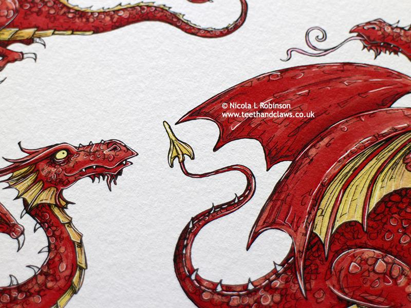 Little Red Flying Dragons Art Print © Nicola L Robinson | Teeth and Claws