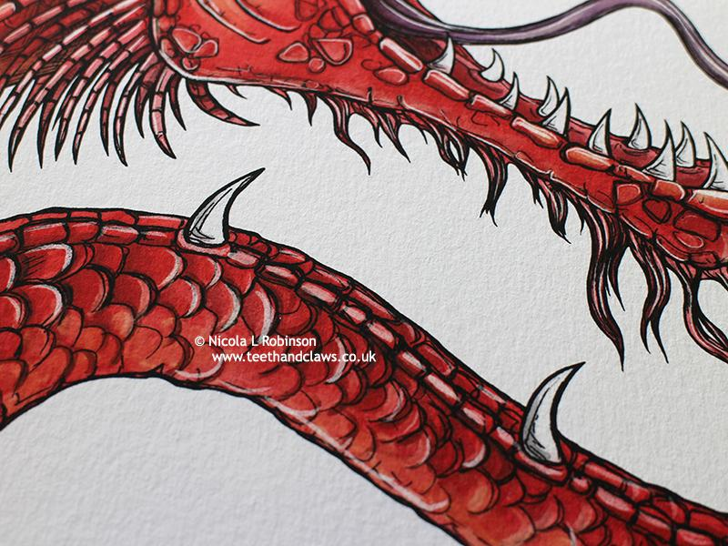 Red Serpent Dragon Art Print © Nicola L Robinson | Teeth and Claws