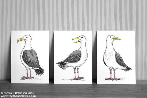 Seagull Art Prints Set of 3