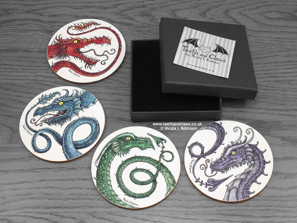 Dragon Coasters, dragon home gift © Nicola L Robinson | Teeth and Claws www.teethandclaws.co.uk