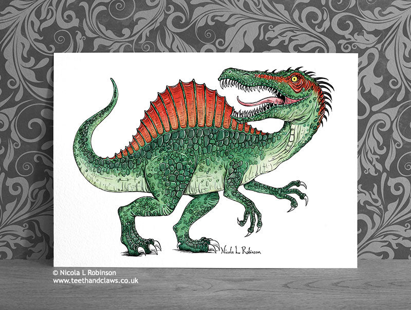 Spinosaurus Fine Art Print © Nicola L Robinson | Teeth and Claws www.teethandclaws.co.uk Dinosaur Decor Gift