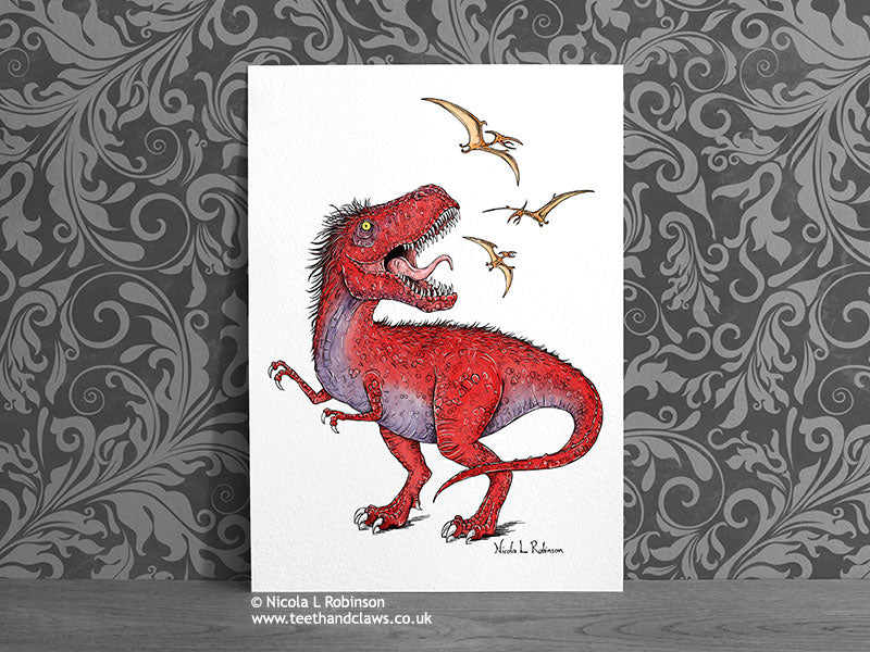 T rex Illustrated Fine Art Print © Nicola L Robinson | Teeth and Claws www.teethandclaws.co.uk Dinosaur Decor Gift