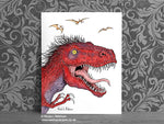 T rex portrait Fine Art Print © Nicola L Robinson | Teeth and Claws www.teethandclaws.co.uk Dinosaur Decor Gift