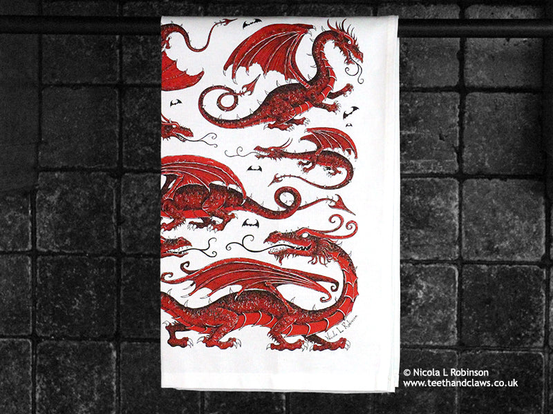 Organic Cotton Red Dragon Tea Towels © Nicola L Robinson | Teeth and Claws
