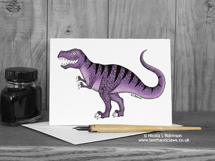 Dinosaur Greeting Card - T Rex © Nicola L Robinson | Teeth and Claws
