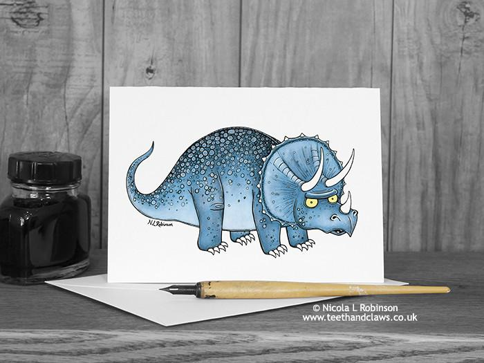 Dinosaur Greeting Card - Triceratops © Nicola L Robinson | Teeth and Claws