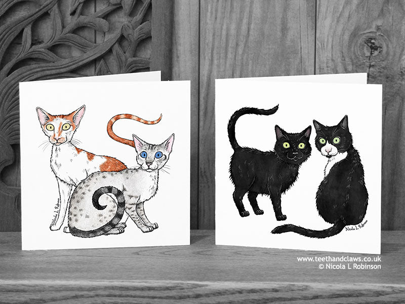 Two Katzenworld Cats Cat Cards © Nicola L Robinson | Teeth and Claws