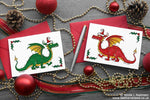 Red and Green Dragon Christmas Cards - Set of 6