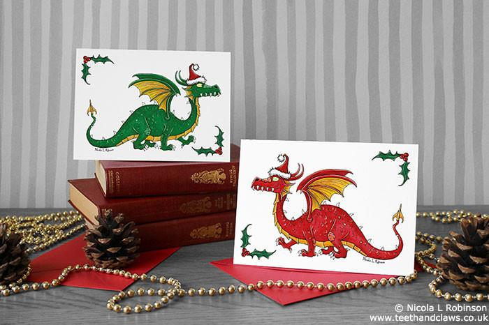 Dragon Christmas Card - Green Dragon © Nicola L Robinson | Teeth and Claws