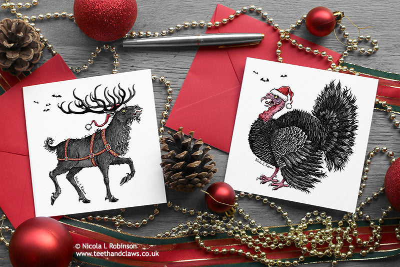 Gothic Christmas Cards - Reindeer and Turkey - Set of 6