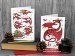 Red Dragon Christmas Cards - Set of 6 © Nicola L Robinson | Teeth and Claws