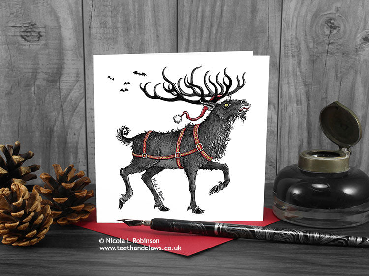 Christmas Card - Gothic Reindeer © Nicola L Robinson | Teeth and Claws