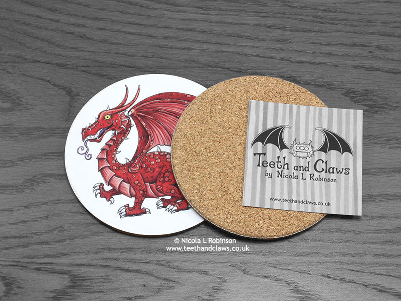 Welsh Dragon Coaster back | © Nicola L Robinson | www.teethandclaws.co.uk