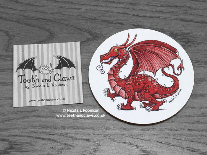 Welsh Dragon Coaster | © Nicola L Robinson | www.teethandclaws.co.uk