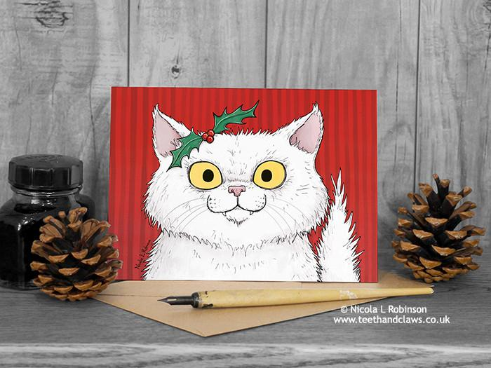 Cat Christmas Card - White Persian Cat