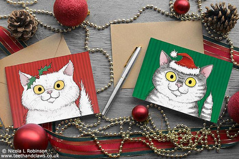 Cat Christmas Cards - Set of 6