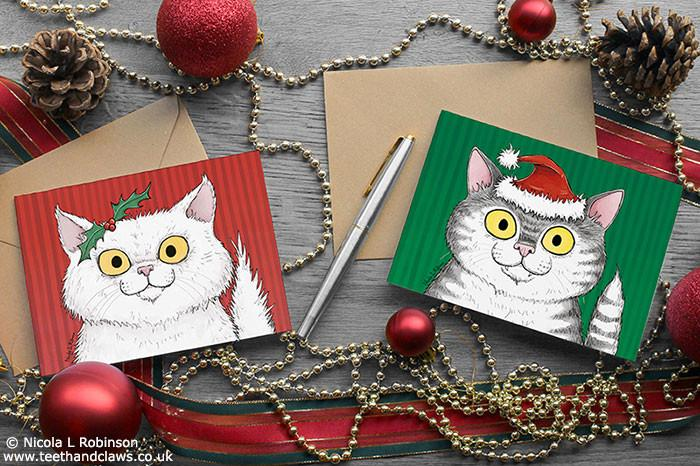 Cat Christmas Card - White Persian Cat © Nicola L Robinson | Teeth and Claws