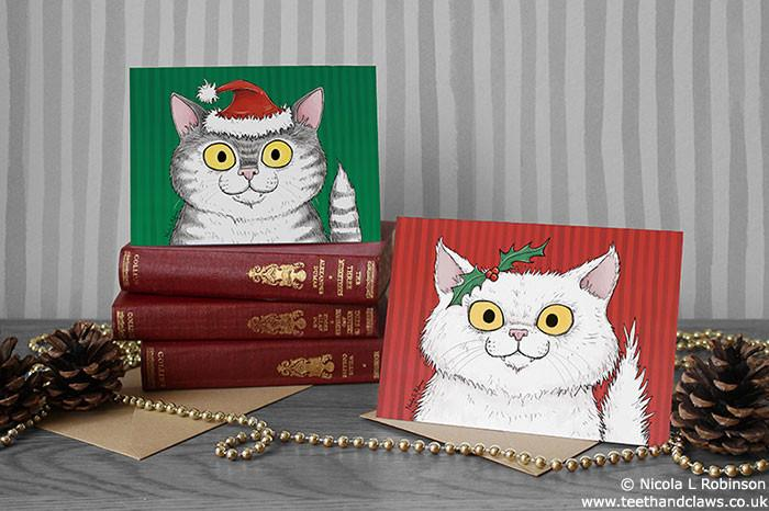 Cat Christmas Cards © Nicola L Robinson www.teethandclaws.co.uk