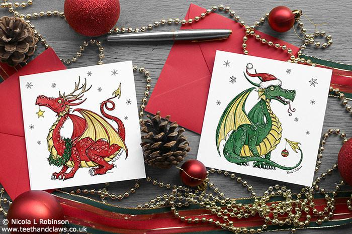 Dragon Christmas cards set of 6 © Nicola L Robinson www.teethandclaws.co.uk Welsh Dragon green red dragon