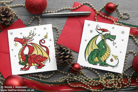 Dragon Christmas Cards - Square - Set of 6