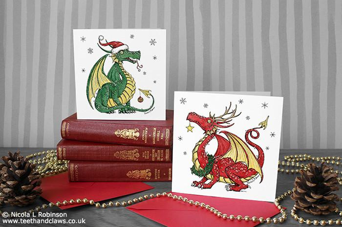 Dragon Christmas Cards - Square - Set of 6 © Nicola L Robinson | Teeth and Claws