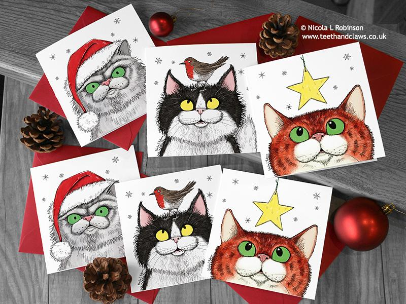 Cat Christmas Card © Nicola L Robinson | Teeth and Claws www.teethandclaws.co.uk