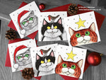 Cat Christmas Cards - Set of 6 Square
