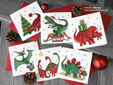 Dinosaur Christmas Cards - Set of 6 Cards © Nicola L Robinson | Teeth and Claws www.teethandclaws.co.uk Dinosaur Christmas Cards for Kids Children