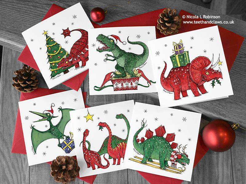 Dinosaur Christmas Card - T rex © Nicola L Robinson | Teeth and Claws