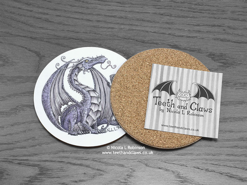 Lilac Dragon Drink Coaster | © Nicola L Robinson | www.teethandclaws.co.uk