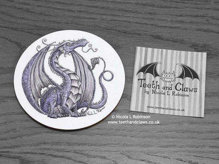 Lilac  Purple Dragon Drink Coaster | © Nicola L Robinson | www.teethandclaws.co.uk