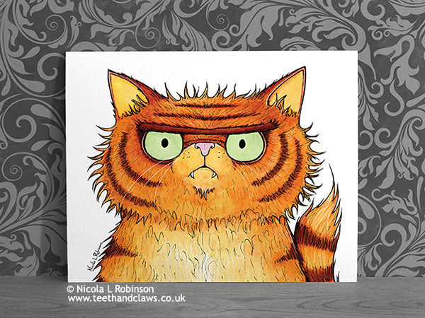 Persian Cat Portrait Art Print - Cat Decor Gift © Nicola L Robinson | Teeth and Claws www.teethandclaws.co.uk