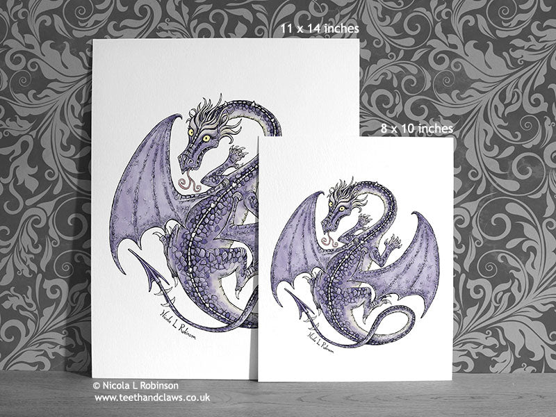 Purple flying dragon art print Dragon Decor © Nicola L Robinson | Teeth and Claws www.teethandclaws.co.uk