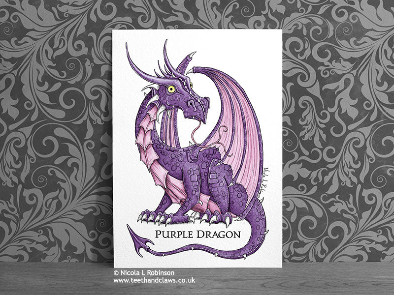 Personalised Pink Purple Dragon Art - Dragon Gift - Nursery Decor © Nicola L Robinson | Teeth and Claws www.teethandclaws.co.uk