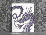Purple Serpent Dragon Gothic Art Print © Nicola L Robinson | Teeth and Claws www.teethandclaws.co.uk