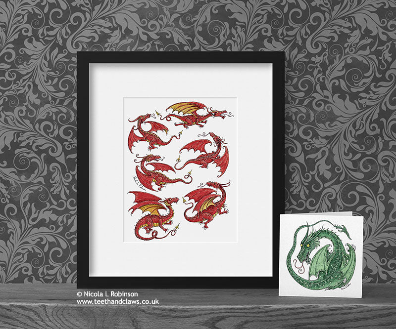 Little Red Flying Dragons Art Print Nursery Art © Nicola L Robinson | Teeth and Claws www.teethandclaws.co.uk
