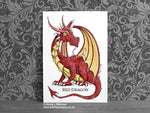 Personalised  Nursery Dragon Art - Red Dragon Decor © Nicola L Robinson | Teeth and Claws www.teethandclaws.co.uk