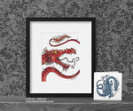 Red Serpent Dragon Art Print © Nicola L Robinson | Teeth and Claws www.teethandclaws.co.uk
