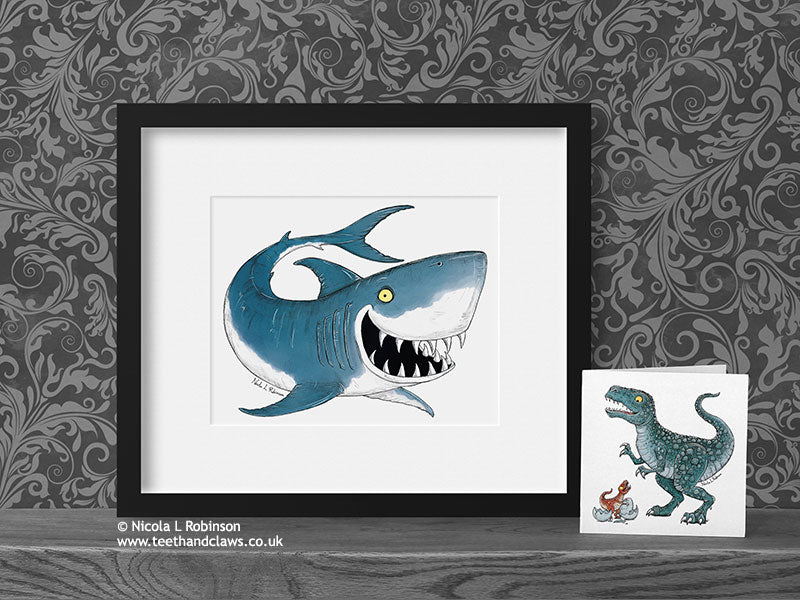 Shark Art Print Nautical Nursery Decor © Nicola L Robinson | Teeth and Claws www.teethandclaws.co.uk