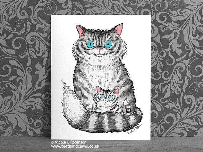 Silver Tabby Cat Nursery Art Print - Cat Decor Gift © Nicola L Robinson | Teeth and Claws www.teethandclaws.co.uk