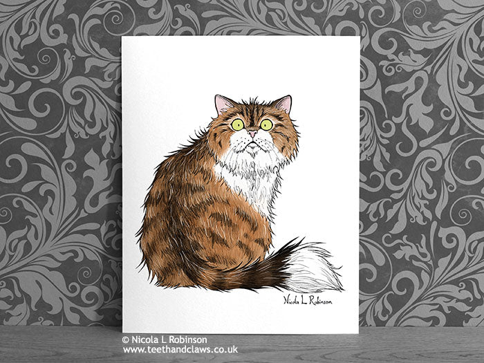 Brown Tabby Cat - Art Print - Cat Decor Gift © Nicola L Robinson | Teeth and Claws www.teethandclaws.co.uk